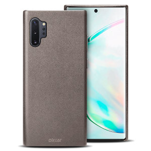 Crafted from premium genuine leather, this exquisite grey case from Olixar for the Samsung Galaxy Note 10 Plus 5G provides stunning style and prestigious protection for your phone in a slim and sleek package.