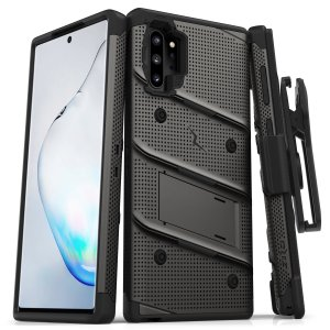 Equip your Samsung Galaxy Note 10 Plus 5G with military grade protection and superb functionality with the ultra-rugged Bolt case in gunmetal from Zizo. Coming complete with a handy belt clip and integrated kickstand.