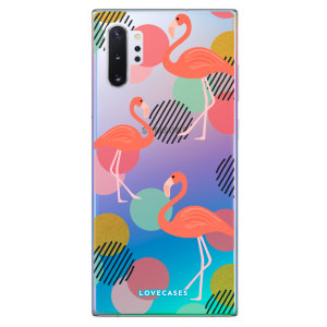 LoveCases Samsung Note 10 Plus Flamingo Phone Case - Clear Multi