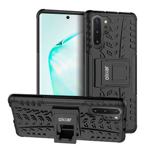 Protect your Samsung Galaxy Note 10 Plus 5G from bumps and scrapes with this black ArmourDillo case from Olixar. Comprised of an inner TPU case and an outer impact-resistant exoskeleton, with a built-in viewing stand.