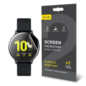 Keep your Samsung Galaxy Watch Active 2 44mm Frontier or Classic smartwatch screen in pristine condition with this Olixar scratch-resistant TPU screen protector 2-in-1 pack.