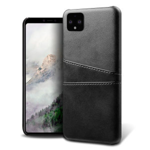 Designed for the Google Pixel 4, this black executive leather-style case from Olixar provides a perfect fit and durable protection against scratches, knocks and drops with the added convenience of 2 RFID protected credit card-sized slots.