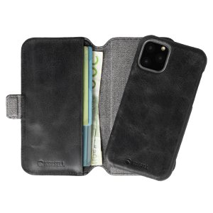 Krusell's 2-in-1 Sunne Wallet case in Vintage Black combines Nordic chic with Krusell's values of sustainable manufacturing for any iPhone 11 Pro Max owner who wants an elegant genuine leather accessory with extra storage for cash and cards.