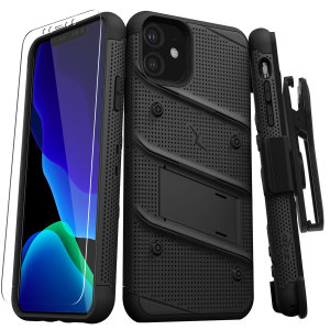 Equip your Apple iPhone 11 with military-grade protection and superb functionality with the ultra-rugged Bolt case in Black from Zizo. Coming complete with a handy belt clip and integrated kickstand.