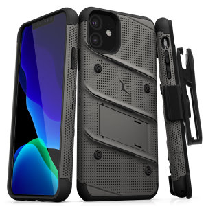 Equip your Apple iPhone 11 with military-grade protection and superb functionality with the ultra-rugged Bolt case in Metal Grey and Black from Zizo. Coming complete with a handy belt clip and integrated kickstand.