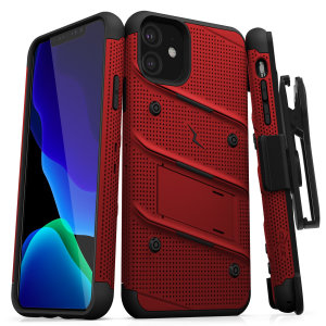Equip your Apple iPhone 11 with military-grade protection and superb functionality with the ultra-rugged Bolt case in Red and Black from Zizo. Coming complete with a handy belt clip and integrated kickstand.
