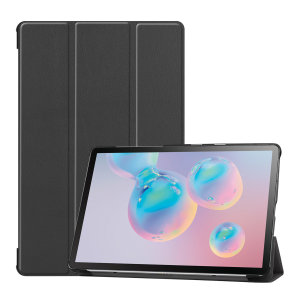 Protect your Samsung Galaxy Tab S6 with this fantastic black leather-style stand case. The frame folds out to become a media viewing stand, perfect for streaming videos or gaming.