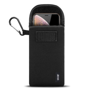 "Designed to provide shock and drop protection, the lightweight Olixar Neoprene case is perfect whilst your exercising or travelling. The included carabiner is great for portability and accessibility. Compatible with devices up to 6.8""."