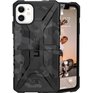 The Urban Armour Gear Pathfinder SE midnight camo rugged case for the iPhone 11 features a classic tough-looking, composite design with a soft impact-absorbing core and hard exterior that provides superb protection in all situations.