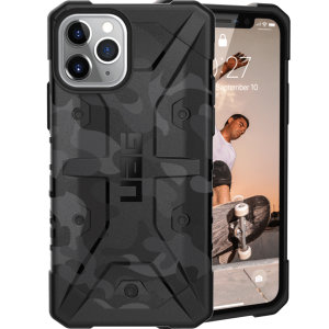 The Urban Armour Gear Pathfinder SE midnight camo rugged case for the iPhone 11 Pro Max features a classic tough-looking, composite design with a soft impact-absorbing core and hard exterior that provides superb protection in all situations.