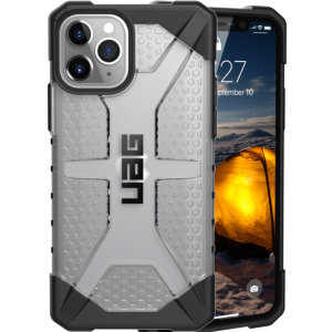 The Urban Armour Gear Plasma semi-transparent tough case in ice clear and black for the iPhone 11 Pro features a protective case with a brushed metal UAG logo insert for an amazing rugged and stylish design.