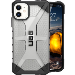 The Urban Armour Gear Plasma semi-transparent tough case in ice clear and black for the iPhone 11 features a protective case with a brushed metal UAG logo insert for an amazing rugged and stylish design.