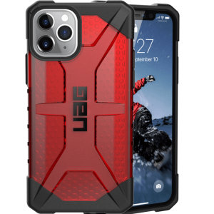 The Urban Armour Gear Plasma semi-transparent tough case in Magma for the iPhone 11 Pro features a protective case with a brushed metal UAG logo insert for an amazing rugged and stylish design.
