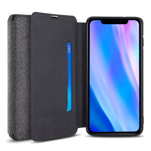 Protect your iPhone 11 Pro with this durable and stylish grey canvas case by Olixar. What's more, for convenience this case transforms into a stand to view media and includes a card slot.