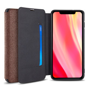 Protect your iPhone 11 Pro Max with this durable and stylish brown canvas case by Olixar. What's more, for convenience this case transforms into a stand to view media and includes a card slot.