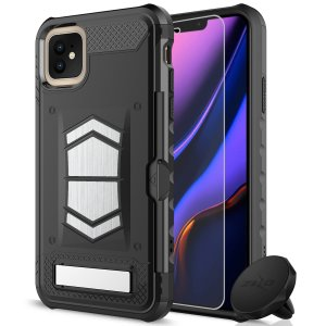 Equip your iPhone 11 with heavy duty protection and functionality with the Electro case in black from Zizo. Coming complete with an integrated kickstand and card slot. Additionally the case comes with a car vent holder and glass screen protector.