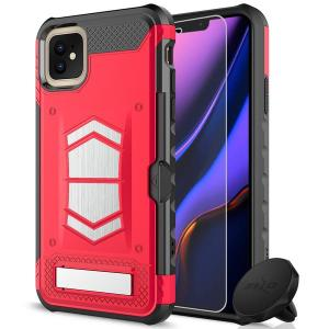 Equip your iPhone 11 with heavy duty protection and functionality with the Electro case in Red and Black from Zizo. Coming complete with an integrated kickstand and card slot. Additionally the case comes with a car vent holder and glass screen protector.