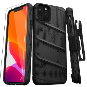 Equip your Apple iPhone 11 Pro Max with military-grade protection and superb functionality with the ultra-rugged Bolt case in Black from Zizo. Coming complete with a handy belt clip and integrated kickstand.