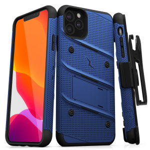 Equip your Apple iPhone 11 Pro with military-grade protection and superb functionality with the ultra-rugged Bolt case in Blue and Black from Zizo. Coming complete with a handy belt clip and integrated kickstand.