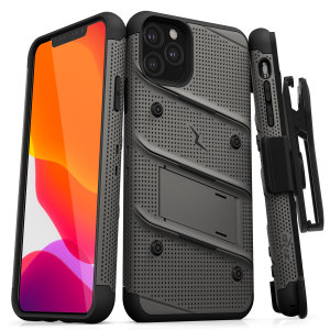 Equip your Apple iPhone 11 Pro with military-grade protection and superb functionality with the ultra-rugged Bolt case in Metal Grey and Black from Zizo. Coming complete with a handy belt clip and integrated kickstand.