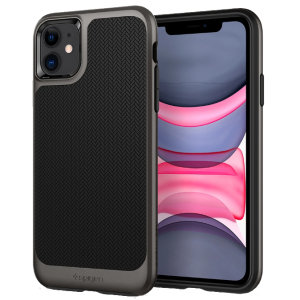 The Spigen Neo Hybrid in gunmetal colour is the new leader in lightweight protective cases. Spigen's new Air Cushion Technology reduces the thickness of the case while providing optimal corner protection for your iPhone 11.