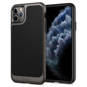 The Spigen Neo Hybrid in gunmetal colour is the new leader in lightweight protective cases. Spigen's new Air Cushion Technology reduces the thickness of the case while providing optimal corner protection for your iPhone 11 Pro.