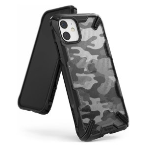 Keep your Apple iPhone 11 protected from bumps and drops with the Rearth Ringke Fusion X Design tough case in Camo Black. Featuring a 2-part, Polycarbonate design, this case lives up to military drop-test standards.