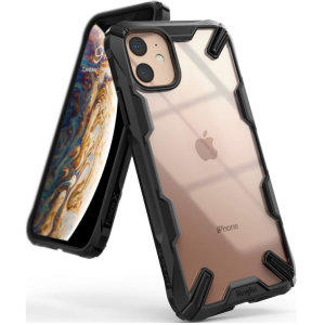 Keep your Apple iPhone 11 protected from bumps and drops with the Rearth Ringke Fusion X tough case in Black. Featuring a 2-part, Polycarbonate design, this case lives up to military drop-test standards.