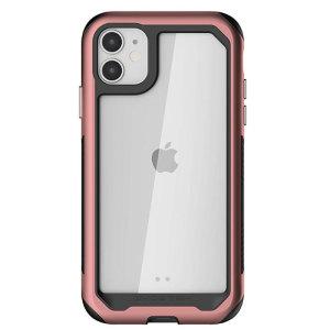 Varusta uusi Apple iPhone 11 äärimmäisillä ja kestävimmillä suojauksilla! Pinkki Ghostek Atomic tarjoaa suojaa pudotuksilta ja naarmuilta pitäen puhelimen ohuena.