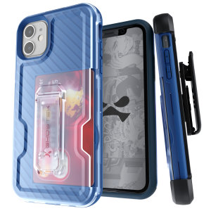 The Apple iPhone 11 Iron Armor 3 case in Blue from Ghostek provides your Apple iPhone 11 with fantastic all-around protection. Includes a card slot for added convenience.