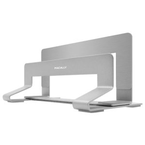 With the stylish Macally Univeral Vertical Laptop Stand you can work on your laptop while it's closed and in upright position to maximize your minimal/valuable desk space. This stand is compatible with many laptops, tablets, and keyboards on the market.