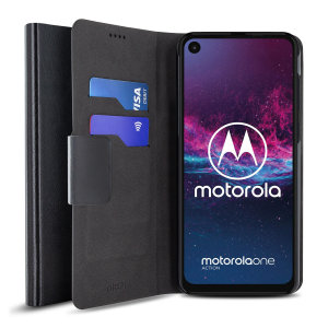 Protect your Motorola One Action with this durable and stylish black leather-style wallet case by Olixar. What's more, this case transforms into a handy stand to view media.