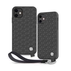 Protect your iPhone 11 with this stylish slim case from Moshi in Shadow Black featuring a detachable wrist strap to open a new world of hands-free convenience. A textured pattern improves grip, creating a luxurious feel and providing ultimate protection.