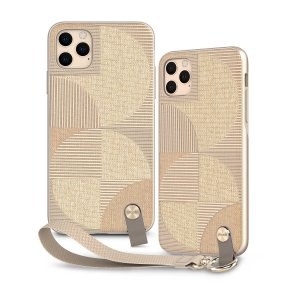 Protect your iPhone 11 Pro Max with this stylish slim case from Moshi in Sahara Beige featuring a detachable wrist strap to open a new world of hands-free convenience. A textured pattern improves grip, creating a protected luxurious feel.