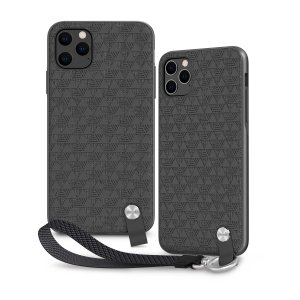 Protect your iPhone 11 Pro Max with this stylish slim case from Moshi in Shadow Black featuring a detachable wrist strap to open a new world of hands-free convenience. A textured pattern improves grip, creating a protected luxurious feel.