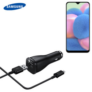 A genuine Samsung adaptive fast car charger and USB-C charging cable for your Samsung Galaxy A30s. Incredibly stylish and fast, this charger is a must have, thanks to its sleek design and super fast charging rates.