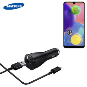 A genuine Samsung adaptive fast car charger and USB-C charging cable for your Samsung Galaxy A50s. Incredibly stylish and fast, this charger is a must have, thanks to its sleek design and super fast charging rates.