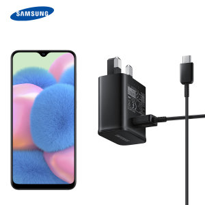 A genuine Samsung UK adaptive fast mains charger for your Samsung galaxy A30s. With folding pins for travel convenience and a genuine Samsung USB-C charging cable. Retail packed.