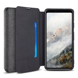 Protect your Google Pixel 4 XL with this durable and stylish grey canvas case by Olixar. What's more, for convenience this case transforms into a stand to view media and includes a card slot.