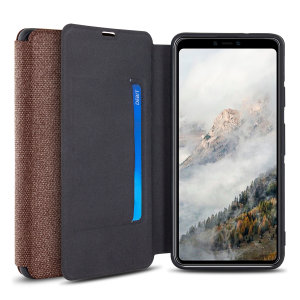 Protect your Google Pixel 4 XL with this durable and stylish brown canvas case by Olixar. What's more, for convenience this case transforms into a stand to view media and includes a card slot.