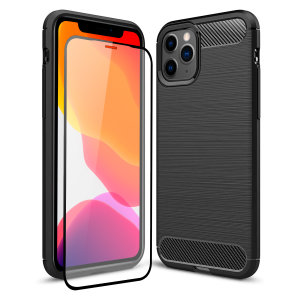 Flexible rugged casing with a premium matte finish non-slip carbon fibre and brushed metal design, the Olixar Sentinel case in black keeps your iPhone 11 Pro protected from 360 degrees with the added bonus of a tempered glass screen protector