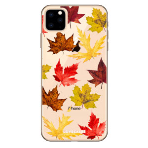 Coque iPhone 11 Pro Max LoveCases Feuilles d'automne – Transparent