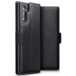 Bénéficiez de tous les avantages d'un portefeuille dans une housse protectrice idéale et parfaitement ajustée pour votre Samsung Galaxy Note 10. Par ailleurs, cette housse Olixar en coloris noir peut se transformer facilement en support de visionnage, pratique lorsque vous souhaitez regarder une vidéo.