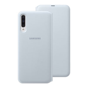 Protect your Samsung Galaxy A50s's back, sides and screen from harm while keeping your most vital cards close to hand with the official flip wallet cover in White from Samsung.