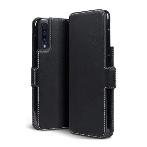 The genuine leather wallet case from Olixar offers perfect protection for your Samsung Galaxy A50s. Featuring premium stitch finishing, as well as featuring slots for your cards, cash and documents.