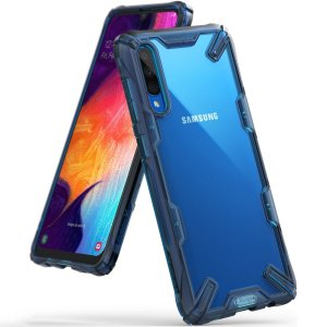 Keep your Samsung Galaxy A30s protected from bumps and drops with the Rearth Ringke Fusion X tough case in Blue. Featuring a 2-part, Polycarbonate design, this case lives up to military drop-test standards so you can rest assured that your device is safe