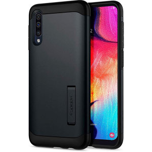 The Slim Armor case for the Samsung Galaxy A50s in metal slate has shock absorbing technology specifically incorporated to protect the device from impacts from any angle.