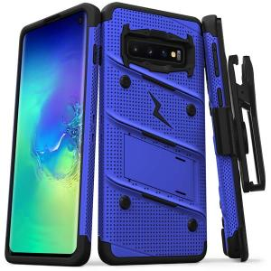 Equip your Samsung Galaxy S10 5G with military grade protection and superb functionality with the ultra-rugged Bolt case in Blue from Zizo. Coming complete with a handy belt clip and integrated kickstand.