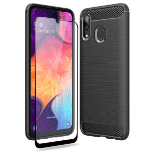 Flexible rugged casing with a premium matte finish non-slip carbon fibre and brushed metal design, the Olixar Sentinel case in black keeps your Samsung Galaxy A30s protected from 360 degrees with the added bonus of a tempered glass screen protector.