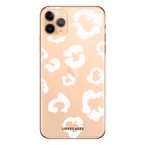 Coque iPhone 11 Pro Max LoveCases Léopard – Transparent / blanc